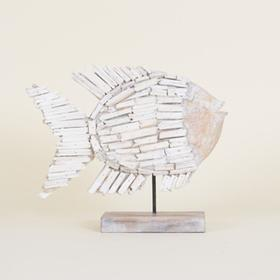 Natural Whitewashed Driftwood Fish On Stand