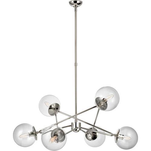 AERIN Turenne 6 Light 34 inch Polished Nickel Dynamic Chandelier Ceiling Light, Large