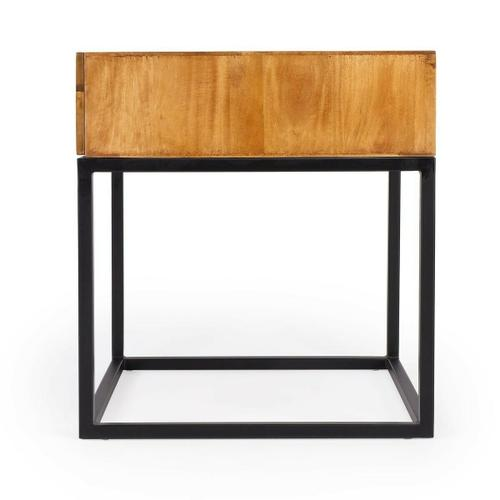 Butler Specialty Company - The minimalistic industrial styling of this square end table is an ideal addition in any modern space. Supported by a black finished iron base, its drawer box is constructed from mango wood solids and wood products in a natural finish. With clean lines and convenient drawer, the table also makes a great nightstand.