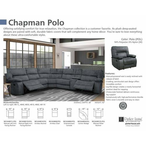 Parker House - CHAPMAN - POLO Manual Left Arm Facing Recliner