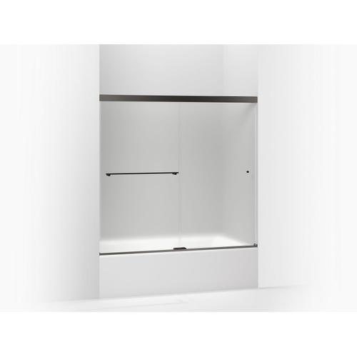 """Frosted Glass With Anodized Dark Bronze Frame Sliding Bath Door, 62"""" H X 56-5/8 - 59-5/8"""" W, With 5/16"""" Thick Frosted Glass"""