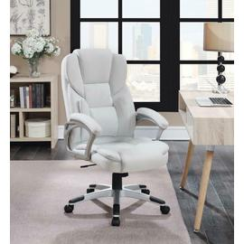 See Details - Casual White Faux Leather Office Chair