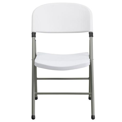 330 lb. Capacity White Plastic Folding Chair with Gray Frame