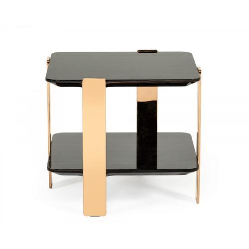 VIG Furniture - Modrest Leroy Modern Ebony & Rosegold End Table
