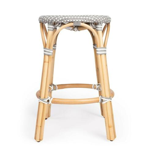 Evoking images of sidewalk tables in the Cote d'Azur, counter stools like this will give your kitchen or patio the casual sophistication of a Mediterranean coastal bistro. Expertly crafted from thick bent rattan for superb durability, it features weather