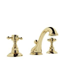 Unlacquered Brass Viaggio C-Spout Widespread Lavatory Faucet with Cross Handle