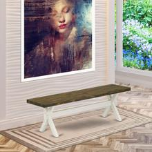 15x60 in Dining Bench with Wirebrushed Linen White Leg and Distressed Jacobean 418 Top finish