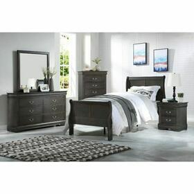 ACME Louis Philippe Twin Bed - 26800T - Dark Gray