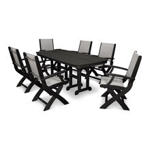 Black & Metallic Coastal 7-Piece Dining Set