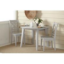Simplicity Round Drop Leaf Table With 2 X Back Chairs - Dove