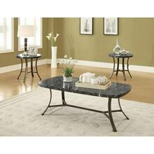 ACME Daisy 3Pc Pack Coffee/End Table Set - 80252 - Black Faux Marble & Antique Bronze
