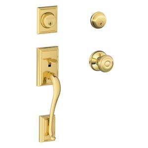 Addison Double Cylinder Handleset and Georgian Knob - Bright Brass Product Image