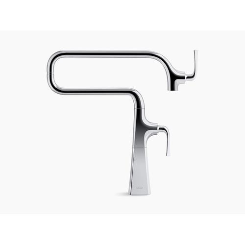 Matte Black Deck-mount Pot Filler Faucet