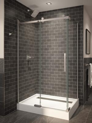 "Stainless 48"" x 36"" Frameless Shower Enclosure Product Image"