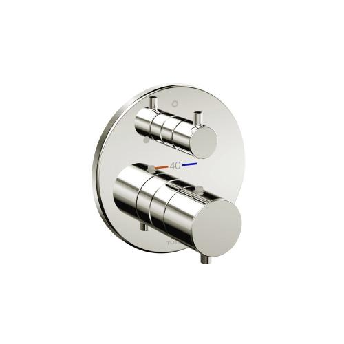 Thermostatic Mixing Valve with Volume Control Trim - Round - Polished Nickel