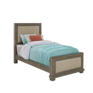 3/3 Twin Upholstered Bed - Weathered Gray Finish
