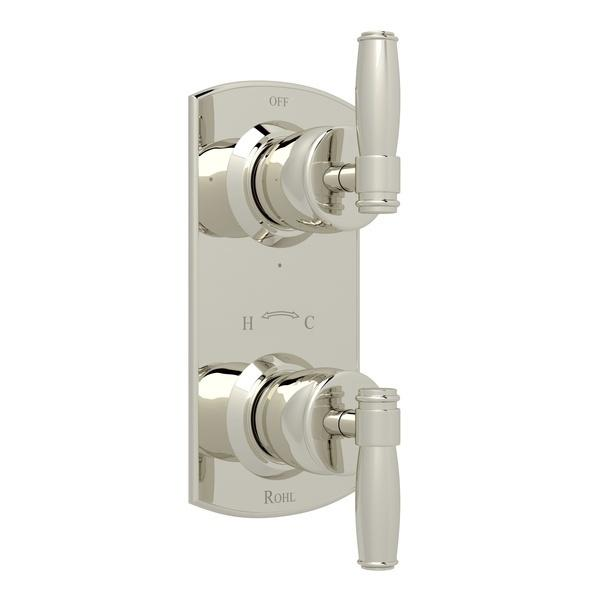 "Polished Nickel Zephyr 1/2"" Thermostatic/Diverter Control Trim with Metal Lever Zephyr Series Only"