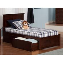 Madison Twin XL Flat Panel Foot Board with 2 Urban Bed Drawers Walnut