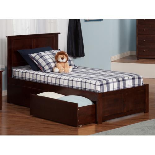 Madison Twin XL Flat Panel Foot Board with 2 Urban Bed Drawers Walnut