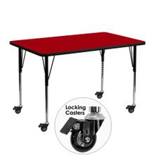 Mobile 24''W x 48''L Rectangular Red Thermal Laminate Activity Table - Standard Height Adjustable Legs