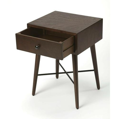 Butler Specialty Company - With Mid-Century Modern roots, this classic rectangular End Table is both good-looking and functional. Crafted from Bayur wood solids and Okoume veneer, it features a fresh contemporary dark chocolate finish with a spacious drawer, great dark metal finish stretcher hardware and is equally usable for use as a nightstand.