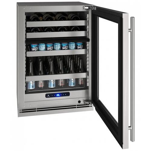 "Hbd524 24"" Dual-zone Beverage Center With Stainless Frame Finish and Left-hand Hinge Door Swing (115 V/60 Hz Volts /60 Hz Hz)"