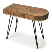 See Details - This sleek writing desk will stylishly enhance your space. Featuring a modern loft aesthetic, it is hand crafted from mango wood solids, iron. It features a reversible side drawer which can be swapped to the opposing side enabling this desk to be oriented in either direction.
