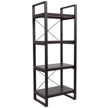 See Details - Charcoal Wood Grain Finish Bookshelf with Black Metal Frame