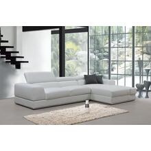 See Details - Divani Casa Pella Mini - Modern White Leather Right Facing Sectional Sofa