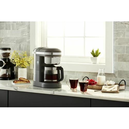 Gallery - 12 Cup Drip Coffee Maker with Spiral Showerhead and Programmable Warming Plate - Matte Charcoal Grey