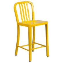 24'' High Yellow Metal Indoor-Outdoor Counter Height Stool with Vertical Slat Back