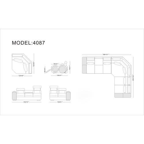 VIG Furniture - Divani Casa 4087 - Modern Bonded Leather Sectional Sofa