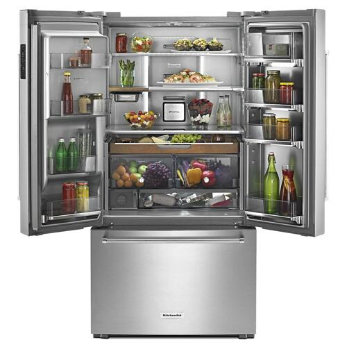 "23.8 cu. ft. 36"" Counter-Depth French Door Platinum Interior Refrigerator Stainless Steel"