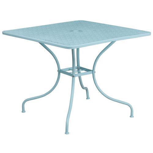 35.5'' Square Sky Blue Indoor-Outdoor Steel Patio Table