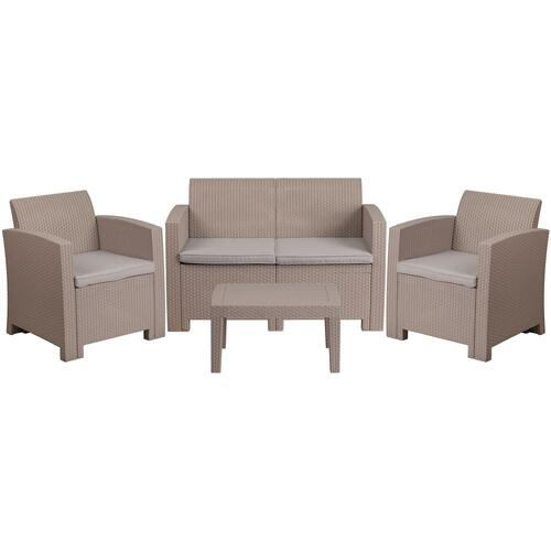 4 Piece Outdoor Faux Rattan Chair, Loveseat and Table Set in Light Gray