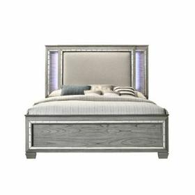 ACME Antares Queen Bed (LED HB) - 21820Q - Glam, Transitional - Mirror, Wood (Solid Rbw), MDF, PB - Fabric and Light Gray Oak