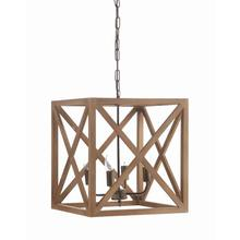 "15-3/4"" Sq x 17-3/4""H Metal & Wood Chandelier"
