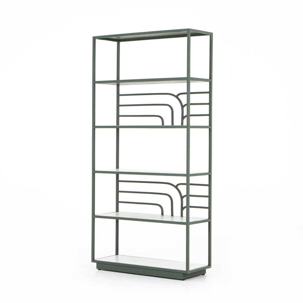 Marcel Bookshelf-sage Green-whte Marble