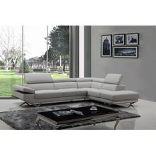 View Product - Divani Casa Quebec - Modern Light Grey Eco-Leather Right Facing Sectional Sofa