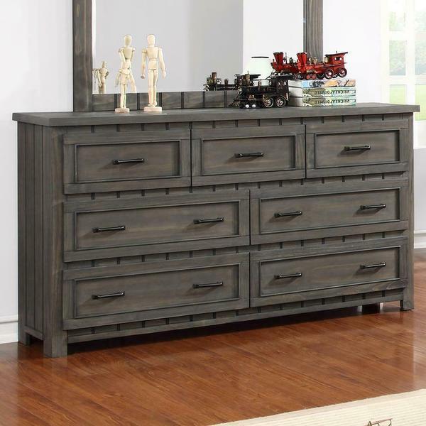 See Details - Napoleon Rustic Gun Smoke Seven-drawer Dresser