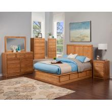 O-C328-Q Modern Oak Pedestal Queen Bed with 6 Drawers