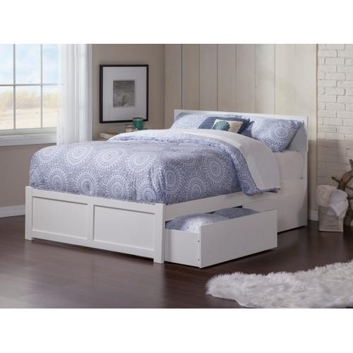 Orlando Full Flat Panel Foot Board with 2 Urban Drawers White