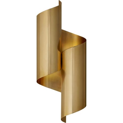 AERIN Iva 2 Light 7 inch Hand-Rubbed Antique Brass Wrapped Sconce Wall Light, Medium