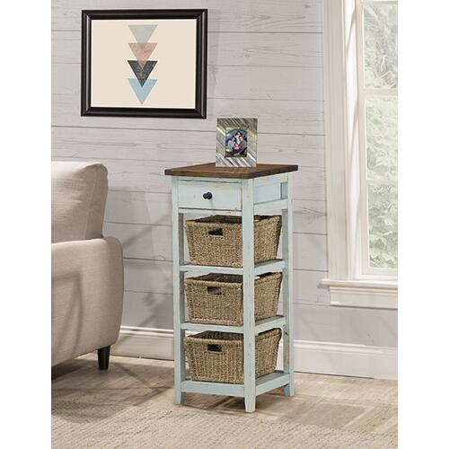 Gallery - Tuscan Retreat® 3 Basket 1 Drawer Open Side Stand - Sea Blue With Antique Pine Top