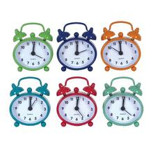 "2-1/4""L x 2-1/2""H Metal Alarm Clock, 6 Colors"