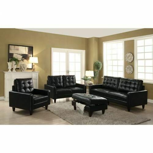 ACME Nate Loveseat - 50266 - Black Leather-Gel