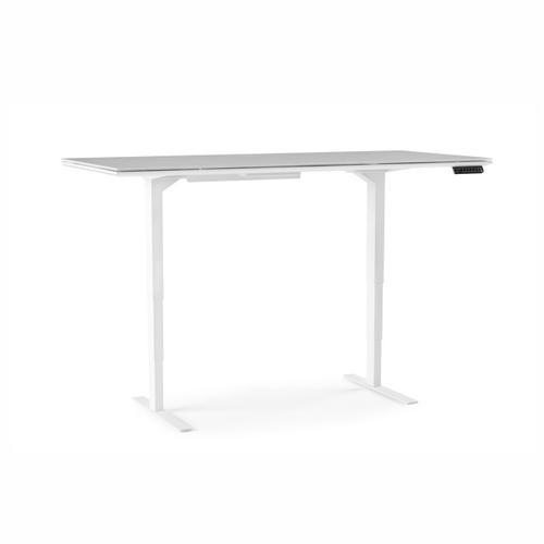 Lift Standing Desk 6452 in Satin White Gray Glass