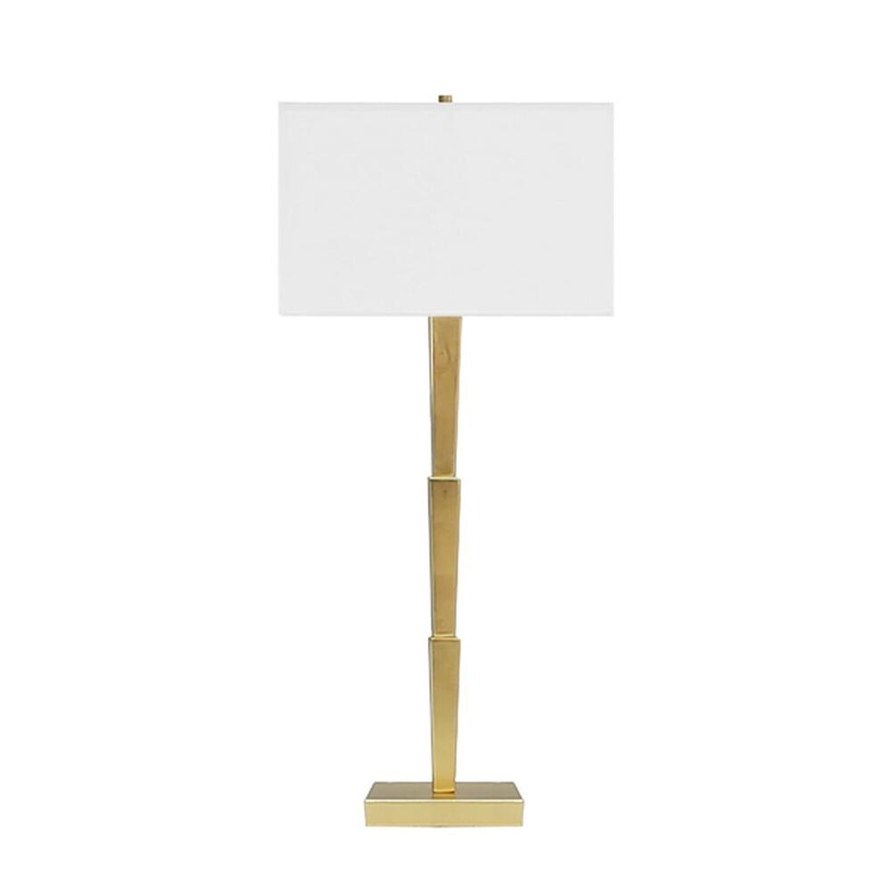 Our Caldwell Deco Table Lamp With Three Streamlined Tiers Lends Modern Sophistication To Any Space. Perfectly Finished In Gold Leaf With A Square White Linen Shade. So Chic!