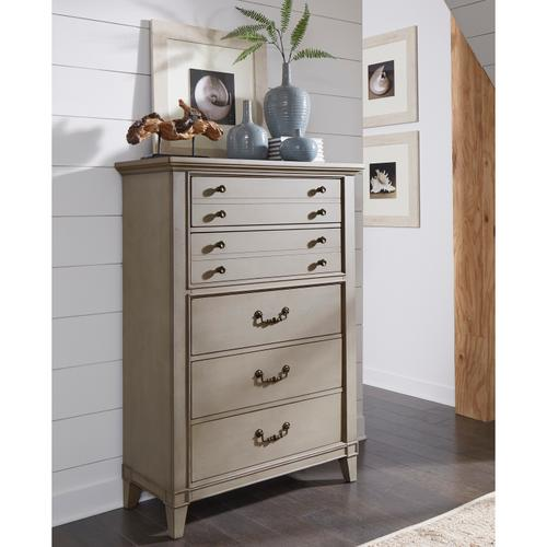 Modern Farmhouse Five Drawer Chest in Warm Gray