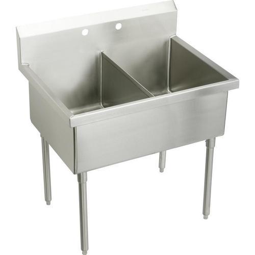 "Elkay Weldbilt Stainless Steel 63"" x 27-1/2"" x 14"" Floor Mount, Double Compartment Scullery Sink"
